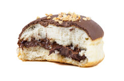 Partially eaten chocolate donut on white background Stock Images