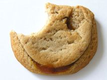 Partially Eaten Decadent Caramel Cookie stock image