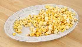 Partially eaten platter of popcorn Royalty Free Stock Images