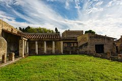Partially excavated and restored ancient ruins of Herculaneum. Campania, Italy Royalty Free Stock Photo