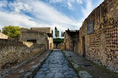 Partially excavated and restored ancient ruins of Herculaneum. Campania, Italy stock images