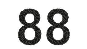 Partially formed number 88 of small black balls