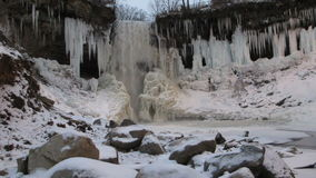 A Partially Frozen Minnehaha Falls stock video footage