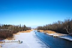 Partially frozen Mississippi River and boat docks in winter in Bemidji, MN. Mississippi River flows north toward Bemidji Minnesota near hiway 2 on a sunny day stock images