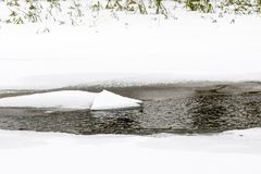 Partially frozen river at winter Royalty Free Stock Photo