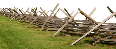 Partially Isolated Civil War Fence Royalty Free Stock Photos