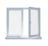 Partially opened window isolated on Royalty Free Stock Photography