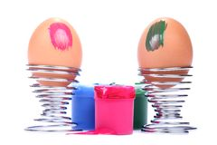 Partially painted easter eggs Stock Image