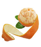 Partially Peeled Off Orange Royalty Free Stock Photo