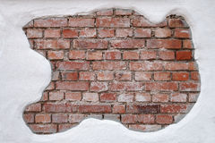 Partially plastered, old, dirty brick wall Royalty Free Stock Photos