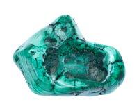 Partially polished green free form bullseye malachite specimen. Isolated on white background royalty free stock photos