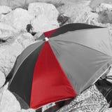 Partially red umbrella Stock Photography