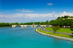 Partially ruined bridge in Avignon, France Royalty Free Stock Photo