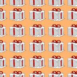 Partially snow ribbon wrapped gift boxes Royalty Free Stock Photo