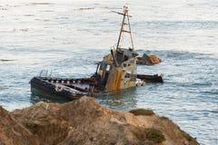 Shipwreck fishing boat on California Central Coast Royalty Free Stock Photography