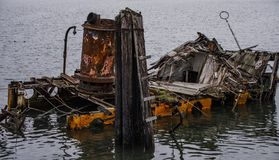 Partially Sunken Historic Hume Steamer Boat royalty free stock photo
