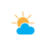 Partially Sunny weather Icon isolated on white background. Vector illustration Royalty Free Stock Photo