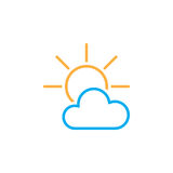 Partially Sunny weather Icon isolated on white background. Vector illustration. Stock Photography