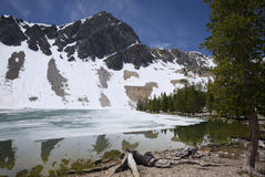 Partially Thawed Meadow Lake. In the Lemhi Mountains of Idaho Royalty Free Stock Image
