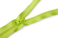 Partially unbuttoned fastener diagonally. Isolated on white background stock photo