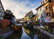 Partially wooden traditional family of Alsace houses royalty free stock image