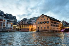 Partially wooden traditional family of Alsace houses. Alongside a canal in Petite France, Strasbourg Stock Photography