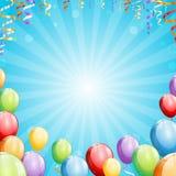 Partibakgrund med ballonger och banderoller Royaltyfri Illustrationer