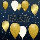 Partibakgrund med guld- ballonger f?r flyg royaltyfri illustrationer