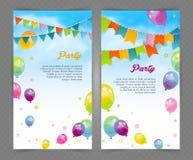 Partibaner med flaggor och ballons Royaltyfria Bilder