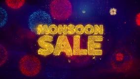 Particelle accoglienti della scintilla del testo di vendita di monsone sui fuochi d'artificio colorati illustrazione di stock