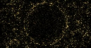 Particelle astratte dell'oro e luce luccicante scintillante o dello stella intorno alla sfera vuota del cerchio per testo o il lo royalty illustrazione gratis