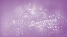 Particelle bianche minuscole dell'estratto che si muovono sul fondo rosa Particelle di galleggiamento brillanti del bokeh Animazi archivi video