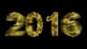 Particelle brillanti del nuovo anno 2016 su fondo nero Immagini Stock