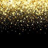 Particelle dorate di caduta su un fondo nero Coriandoli dorati sparsi Contesto di lusso ricco di modo Splendere luminoso royalty illustrazione gratis