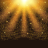 Particelle e stelle scintillanti di caduta dorate Scintilli dei coriandoli illustrazione vettoriale