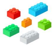 Particelle elementari di plastica isometriche con ombra Insieme di vettore dei mattoni colorati illustrazione di stock