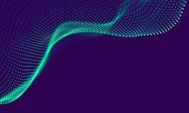 Particelle geometriche blu astratte su fondo porpora Struttura del collegamento Fondo del blu di scienza futuristico royalty illustrazione gratis