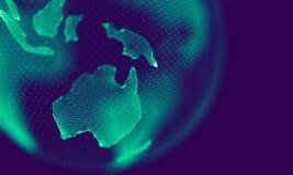 Particelle geometriche blu astratte su fondo porpora Struttura del collegamento Fondo del blu di scienza futuristico illustrazione vettoriale