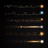 Particelle scintillanti brillanti della traccia della polvere di stella dell'oro su fondo trasparente Coda della cometa dello spa royalty illustrazione gratis