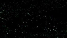 Particelle variopinte che turbinano a caso fondo nero illustrazione vettoriale