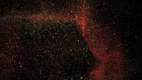 Particelle veloci che si muovono, ciclo senza cuciture di flusso astratto dell'oro stock footage