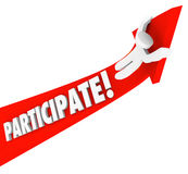 Participa la flecha Person Riding Participation al éxito Imagenes de archivo