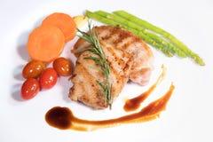participación frita de la carne con las verduras Foto de archivo