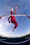 Participant à une course d'obstacles Photographie stock