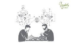 Participant au tournoi d'échecs, jouant le jeu de société avec la pensée d'ami, analytique et logique illustration stock