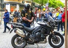 Cute bikers in Brig. Participant of the bikers meeting. Brig, Switzerland royalty free stock image