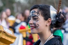 Participant of carnival. Parades in town Olot of Spain, 04 March 2017 Royalty Free Stock Image