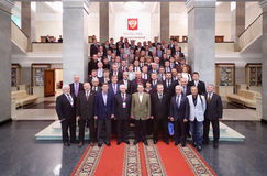 Participant of conference at presentation of Olympic Winter Games Sochi Royalty Free Stock Image