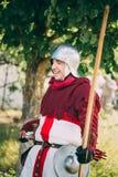 Participant de chevalier de guerrier de festival de médiéval Photos stock