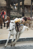 Participant a the Equestrian Feats act, South Korea Stock Image